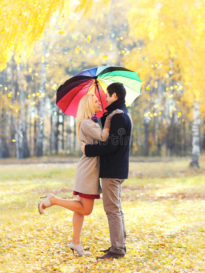 Glückliche liebevolle Paare, die zusammen mit buntem Regenschirm am warmen sonnigen Tag über gelben Fliegenblättern umarmen lizenzfreie stockfotos