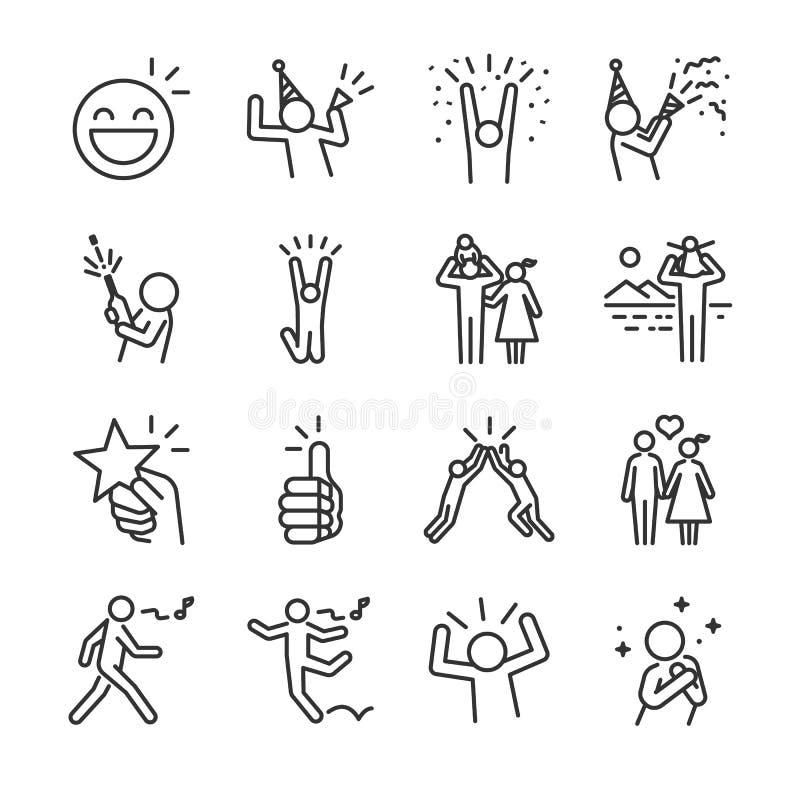 Glückliche Linie Ikonensatz Schloss die Ikonen, wie Spaß, genießen, Partei, gute Laune ein, feiert, Erfolg und mehr lizenzfreie abbildung