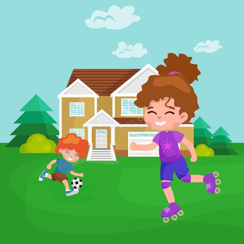 Glückliche Mädchenspaßrollen, Kinder tragen Kindertätigkeits-Vektorillustration zur Schau stock abbildung