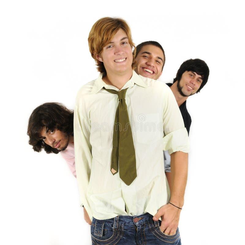 Glückliche männliche Freundgruppe stockfotografie
