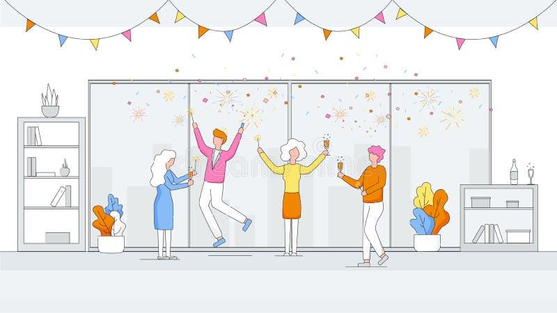 Glückliche Manager feiern Partei im Büro firma stock abbildung