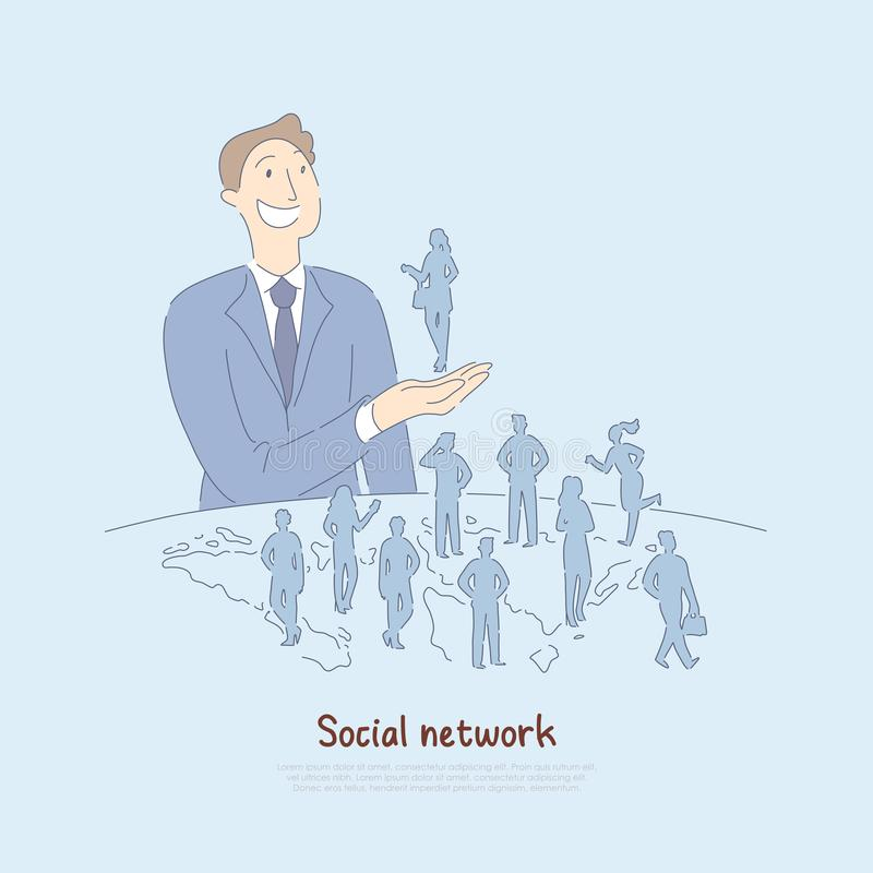 Glückliche Mannholdingfrau in der Hand, Geschäftson-line-Verbindung mit Leuten weltweit, moderne Welt der Kommunikationsfahne vektor abbildung