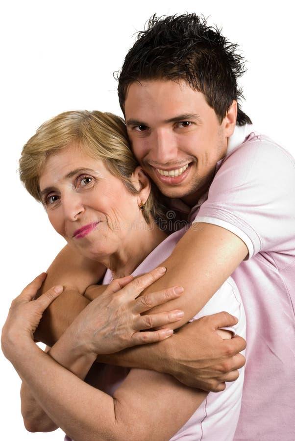 Glückliche Masseverbindermutter und -sohn lizenzfreie stockbilder