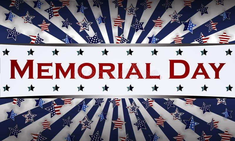 Glückliche Memorial Day -Hintergrundschablone Sterne und amerikanische Flagge Patriotische Fahne Auch im corel abgehobenen Betrag stockbild