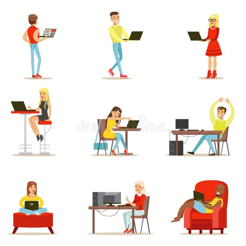 Glückliche Menschen, die ihre Zeit unter Verwendung des Computer-Satzes Vektor-Illustrationen mit Männern und den Frauen einsetze stock abbildung