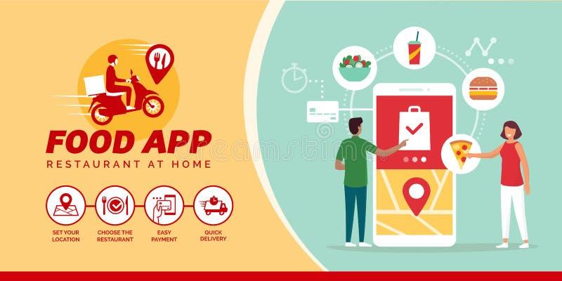 Glückliche Menschen, die Nahrung online auf einem Smartphone bestellen lizenzfreie abbildung