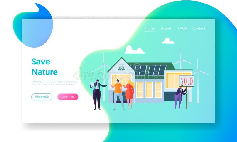 Glückliche Menschen, die neues Haus kaufen Immobilienagentur Communicate mit Kunden Öko-Haus-Konzept-Landungs-Seite, Ökologie-grü lizenzfreie abbildung