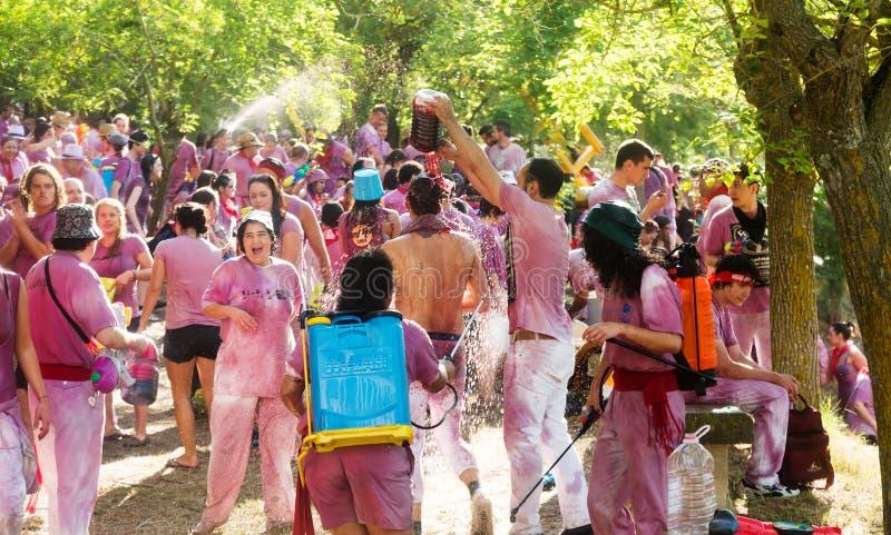 Glückliche Menschen während Batalla Del Vino stockbild