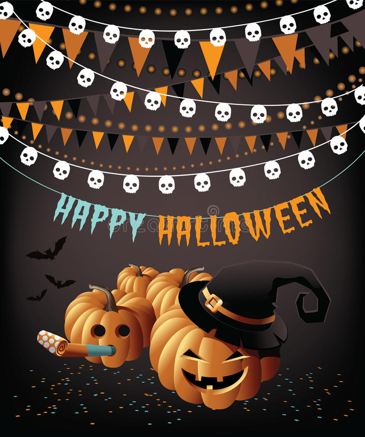 Glückliche mit dem Kopfe stoßende Halloween-Parteikürbise und Konfettigrußkarte lizenzfreie abbildung