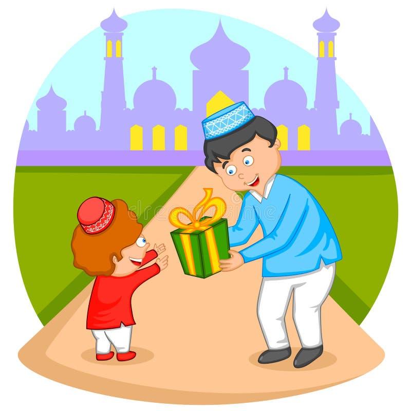 Glückliche moslemische Familie, die Eid feiert vektor abbildung