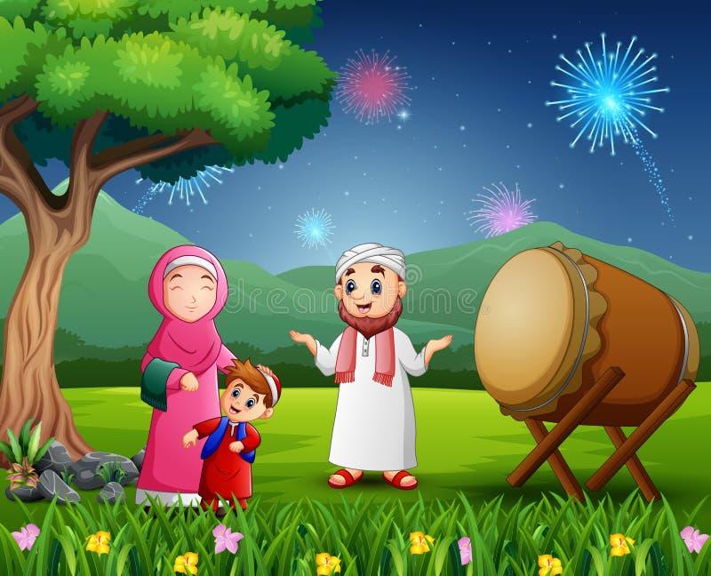 Glückliche moslemische Familie, die Eid-Festival auf Naturansicht feiert lizenzfreie abbildung