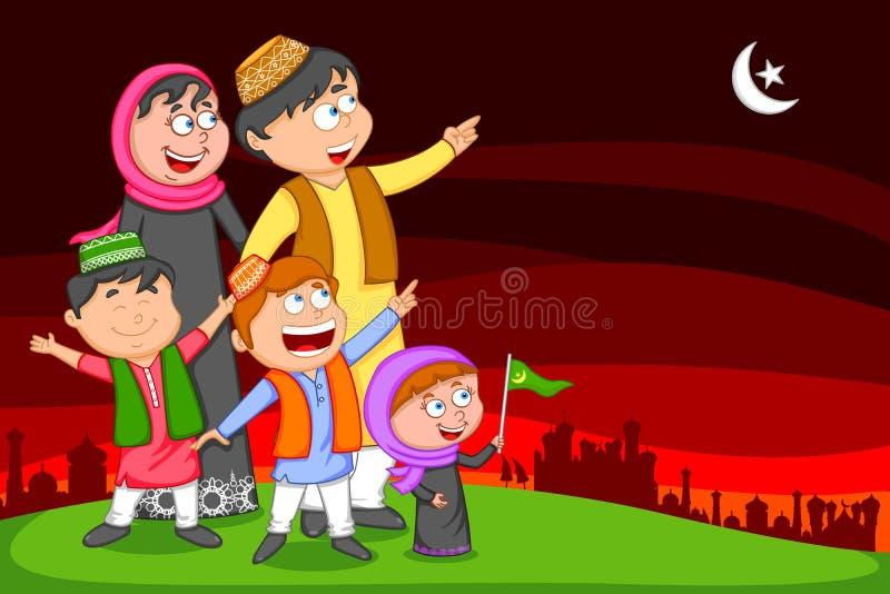 Glückliche moslemische Familie, die Eid Mubarak wünscht vektor abbildung