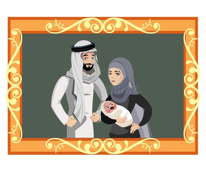 Glückliche moslemische Familie im goldenen Rahmen vektor abbildung