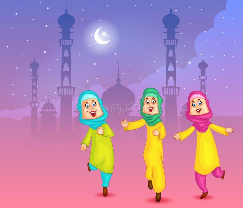 Glückliche moslemische Mädchen, die Eid Mubarak wünschen lizenzfreie abbildung