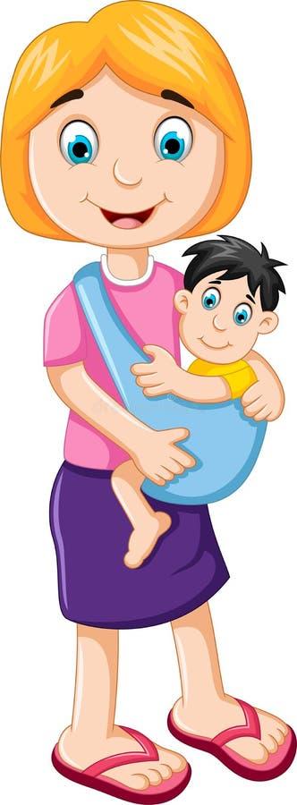 Glückliche Mutter, die ihr Babykind hält stock abbildung