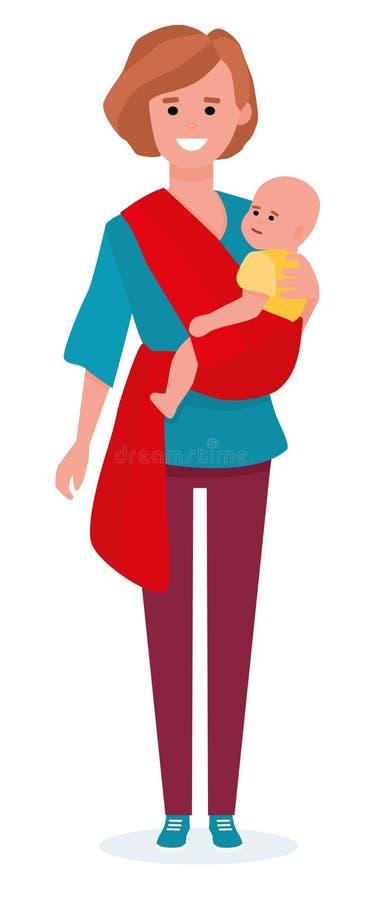 Glückliche Mutter mit Kind in den Riemen Mutter mit dem Gleiten des Babys Mutter mit Baby auf ihr zurück in einem Riemenschal ein stock abbildung