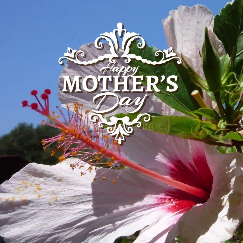 Glückliche Mutter-Tagesbeschriftung auf undeutlichem Blumen stockbild
