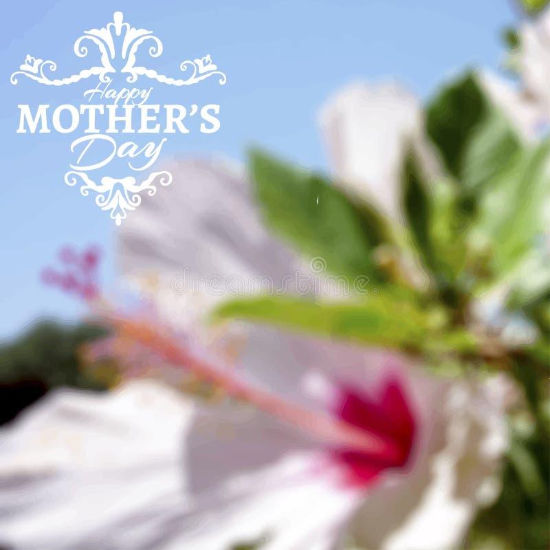 Glückliche Mutter-Tagesbeschriftung auf undeutlichem Blumen lizenzfreie stockfotos