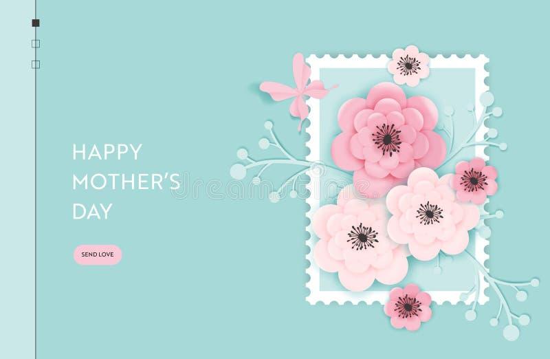 Gl?ckliche Mutter-Tageslandungsseiten-Schablone Mutter-Tagesfeiertags-Netz-Fahne mit geschnittenen Papierblumen f?r Flieger, Bros vektor abbildung