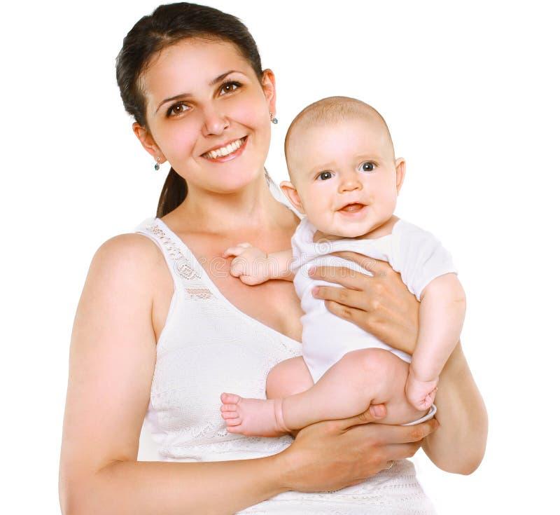 Glückliche Mutter und Baby des Porträts stockfotografie