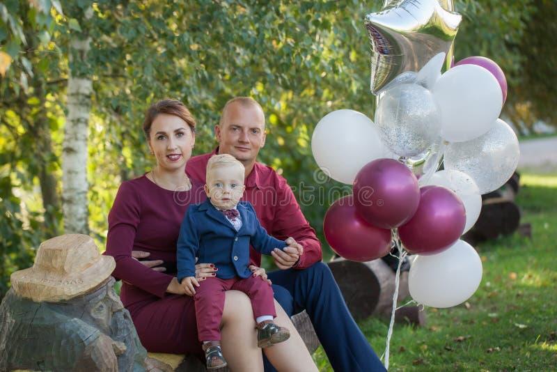 Glückliche Mutter, Vater und Sohn im Park Glück im Familienleben am Sommertag stockbild