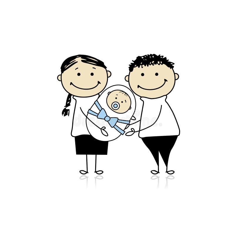 Glückliche Muttergesellschaft mit neugeborenem Schätzchen stock abbildung