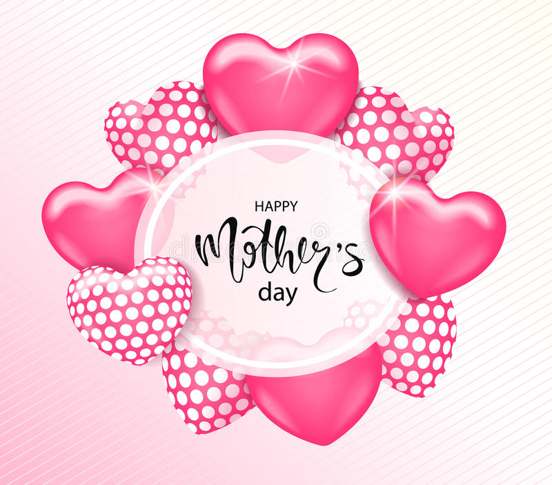 Glückliche Muttertageskartenschablone mit nettem rosa Herzen steigt mit Beschriftung im Ballon auf Es wird für Hintergrund, Plaka vektor abbildung