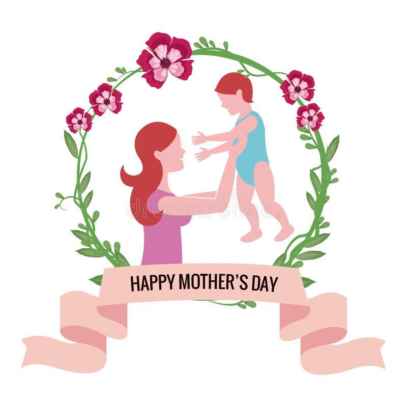 glückliche Muttertagesmutter, die Baby mit Blumen hält vektor abbildung