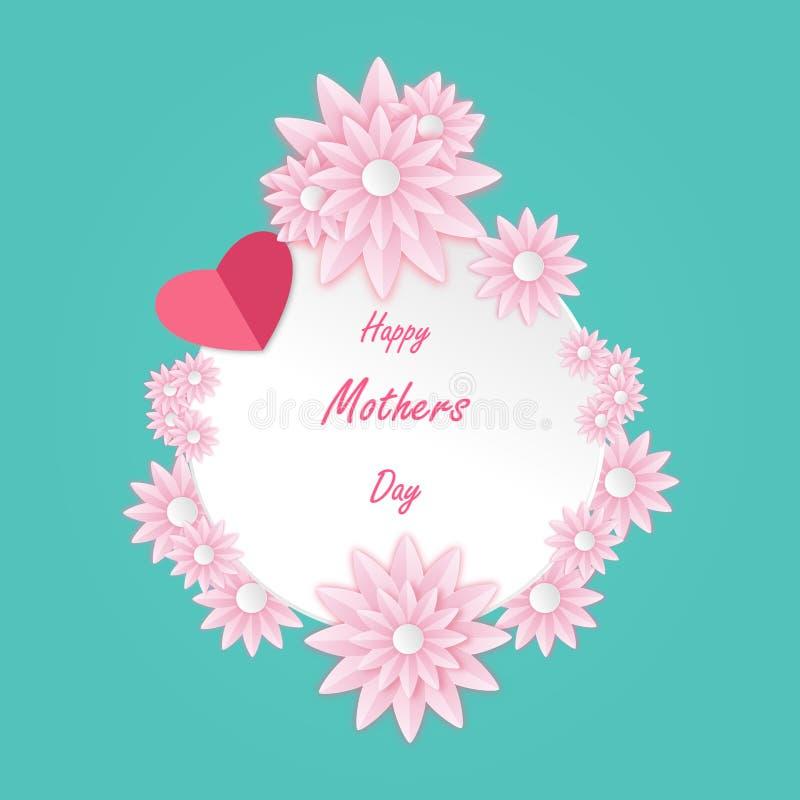 Glückliche Muttertaggrußkarte mit schöner Blüte auf rosa Blumen Mit geschnittener Entwurfsvektorpapierillustration vektor abbildung