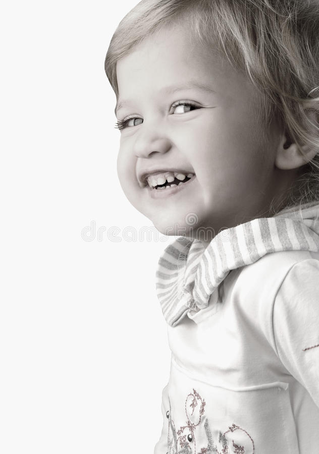 Glückliche Nahaufnahme des kleinen Mädchens des smiley stockbild