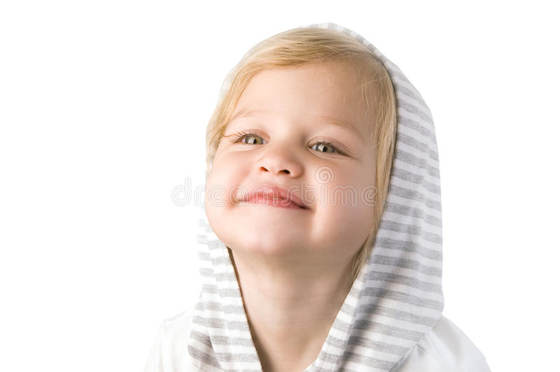Glückliche Nahaufnahme des kleinen Mädchens des smiley stockfoto