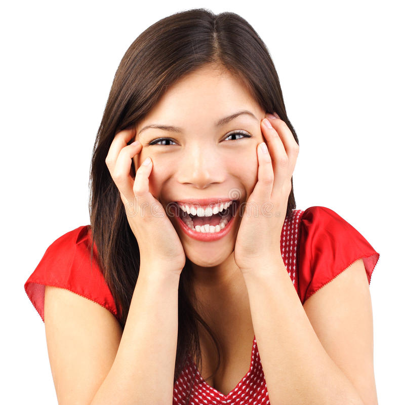 Glückliche nette Frau überrascht stockfotos