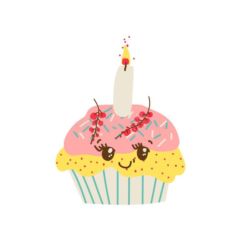 Glückliche nette köstliche Zeichentrickfilm-Figur des kleinen Kuchens, entzückender Kawaii-Nachtisch mit Kerzen-Vektor-Illustrati lizenzfreie abbildung