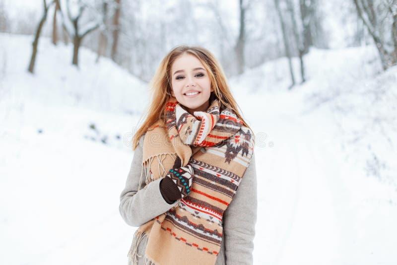 Glückliche nette stilvolle junge Frau mit schöne braune Augen in einem modischen grauen Mantel mit einem woolen Schal der Weinles stockfotografie