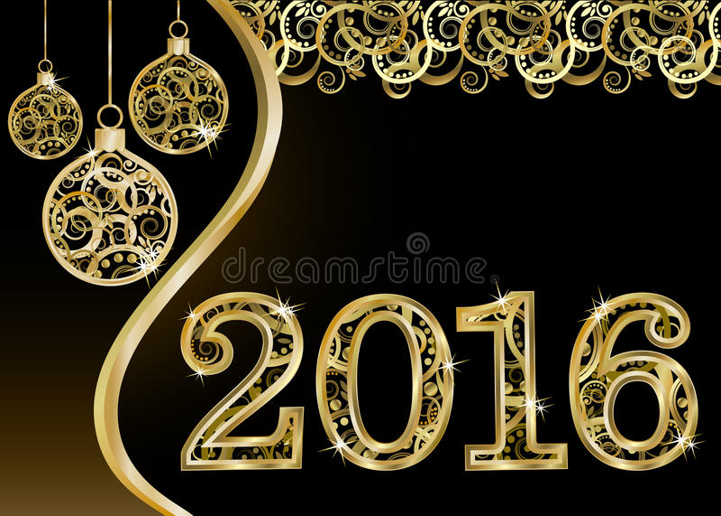 Glückliche neue 2016-jährige Einladungskarte, Vektor lizenzfreie abbildung