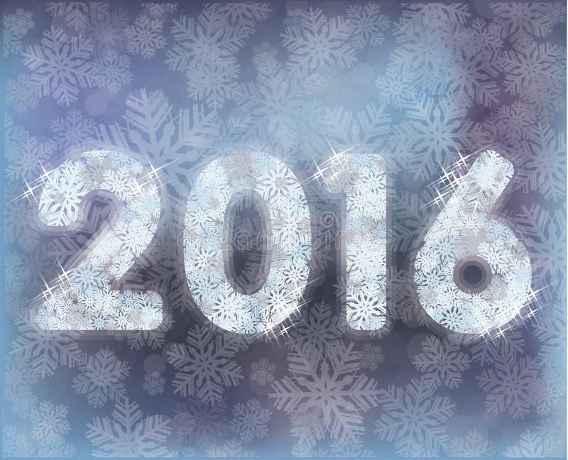 Glückliche neue 2016-jährige Schneekarte, Vektor lizenzfreie abbildung