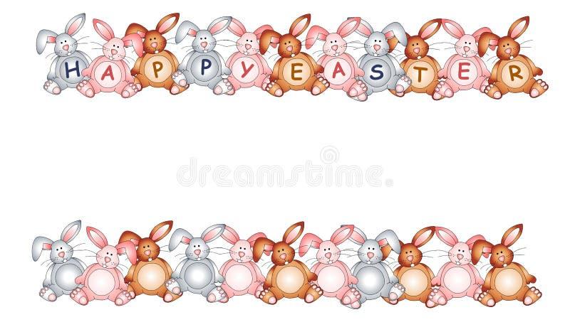 Glückliche Osterhasen-Kaninchen-Ränder stock abbildung
