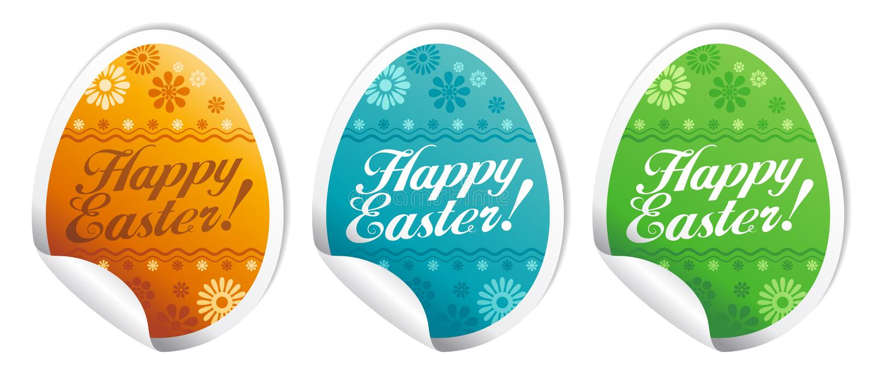 Glückliche Ostern-Aufkleber. vektor abbildung