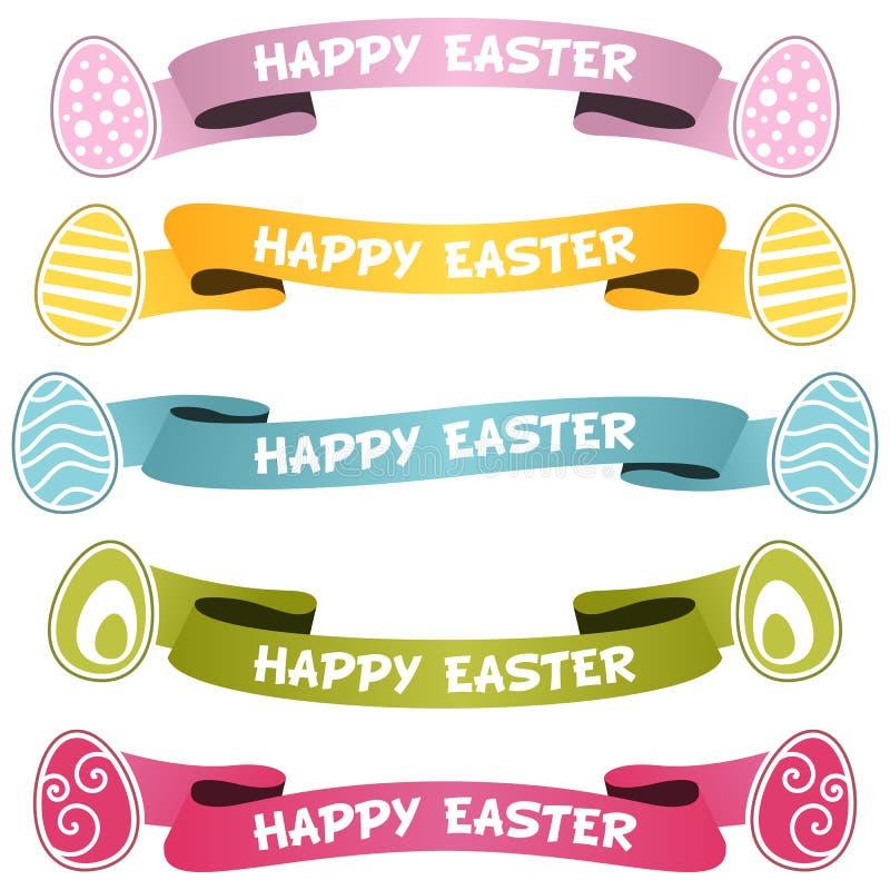 Glückliche Ostern-Bänder oder -fahnen eingestellt lizenzfreie abbildung