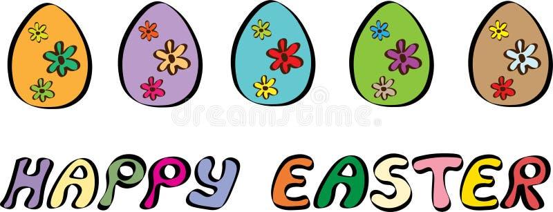 Glückliche Ostern-Fahne mit der fünf Ei-Illustration lizenzfreie abbildung
