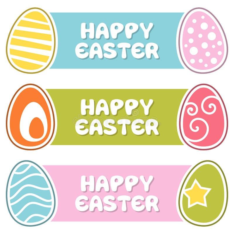 Glückliche Ostern-Fahnen mit Retro- Eiern vektor abbildung