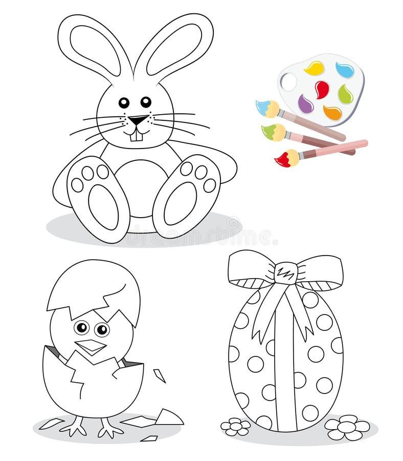 Glückliche Ostern-Farbtonbuchskizzen vektor abbildung