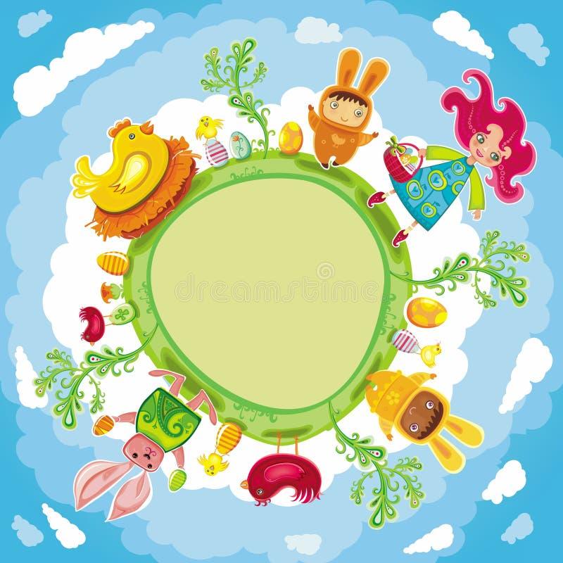 Glückliche Ostern-grüne runde Karte lizenzfreie abbildung