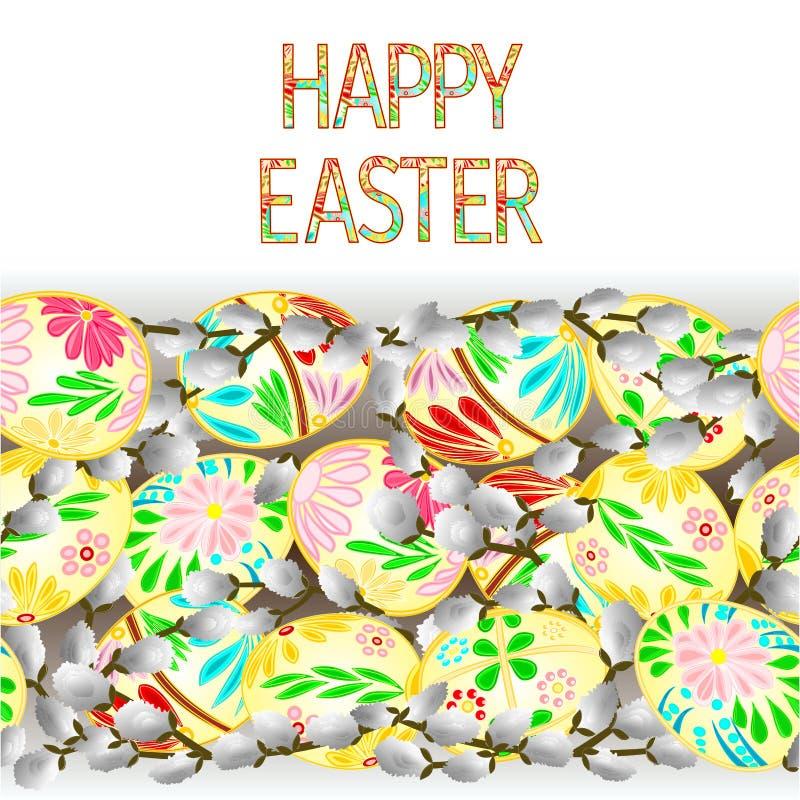 Glückliche Ostern-Grenznahtloser Hintergrund mit Ostereiern und Pussyweide vector Illustration für Gebrauch in der Innenarchitekt vektor abbildung