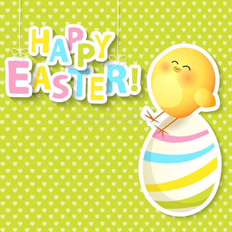 Glückliche Ostern-Gruß-Karte mit Ei und Huhn stock abbildung