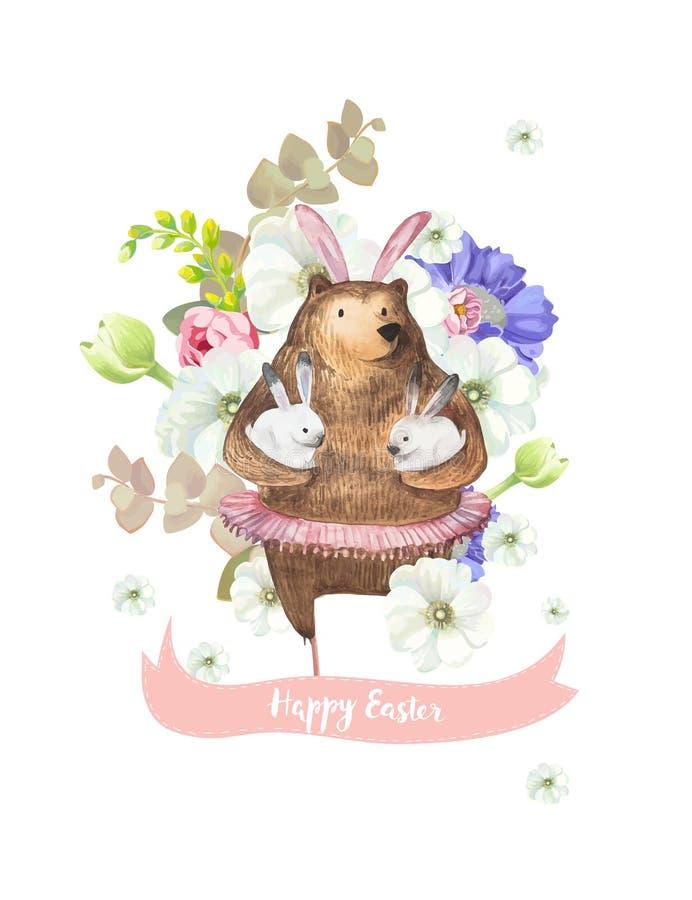 Glückliche Ostern-Grußkarte mit Bündel des schönen Frühlinges blüht auf Hintergrund und lustigem Bären im Ballettballettröckchen, lizenzfreie abbildung