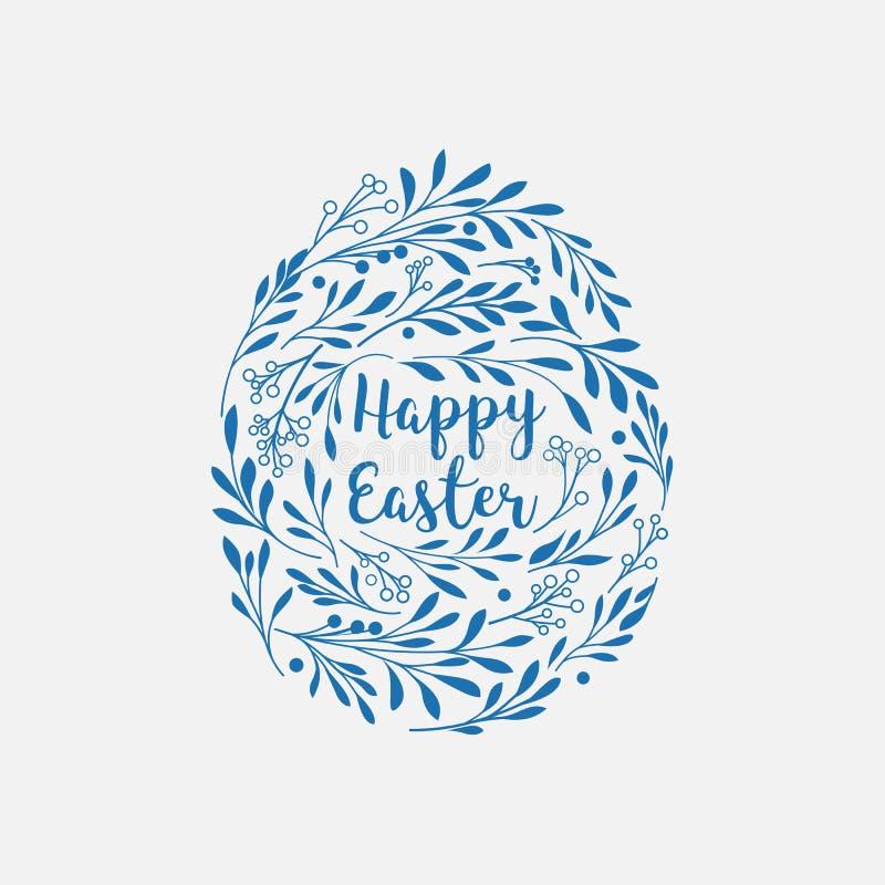 Glückliche Ostern-Grußkarte mit Beschriftung und Florenelementen herein lizenzfreie abbildung