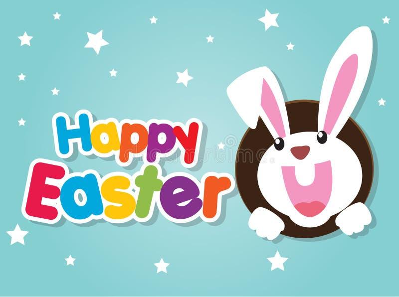 Glückliche Ostern-Grußkarte mit Kaninchen, Häschen und Eiern stockfotografie