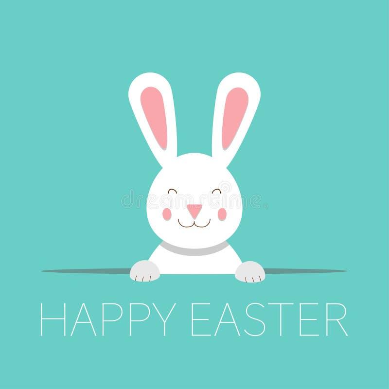 Glückliche Ostern-Grußkarte mit lustigem Häschen lizenzfreie abbildung