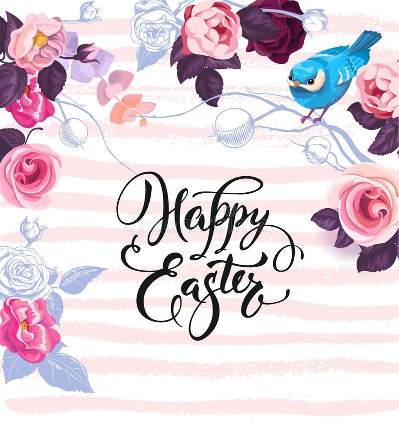 Glückliche Ostern-Grußkarte verziert durch herrliche Bündel von halb-farbigen Rosen, von bunten Eiern und von nettem blauem Vogel lizenzfreie abbildung